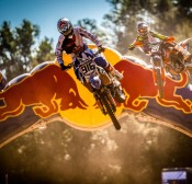 Competitors perform during the training of Red Bull MX Super Champions at Maggiora track in Novara, Italy, on September 13rd, 2014